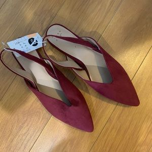 a new day Shoes - a new day Sling Back Pointy Burgundy Flats